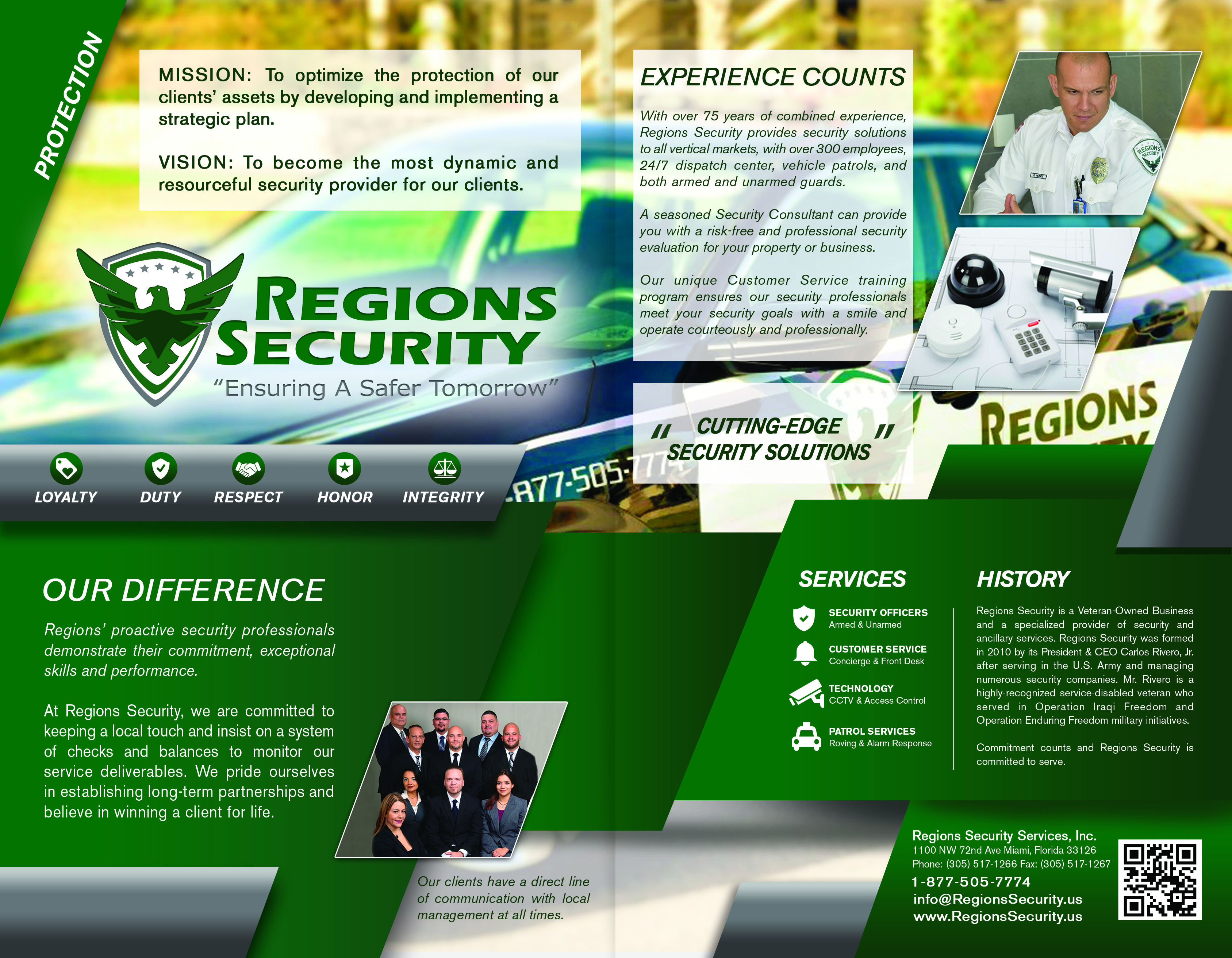 Regions security for Security company brochure template